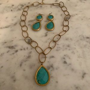 Jewelry - Turquoise and gold necklace and earrings set
